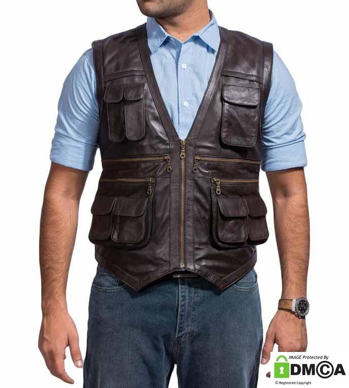 Chris Pratt Jurassic World Vest in Leather