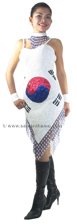 Rm402 Sparkling Sequin Dance South Korea Flag Dress 169 99