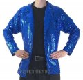 CJ077 Men's Blue Cabaret, Entertainers Sequin Dance Jacket