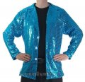 CJ051 Men's Turquoise Cabaret, Entertainers Sequin Dance Jacket