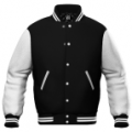Black Wool / White Leather Varsity Letterman Jacket