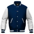 Royal Blue / White Leather Varsity Letterman Jacket