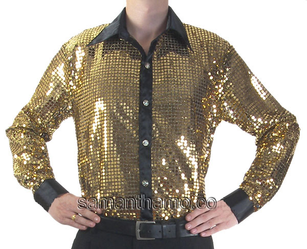 Men's Gold Cabaret Stage Entertainers Sequin Dance Shirt - $69.99 ...