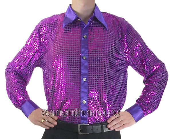 Men 39 S Purple Cabaret Stage Entertainers Sequin Dance Shirt