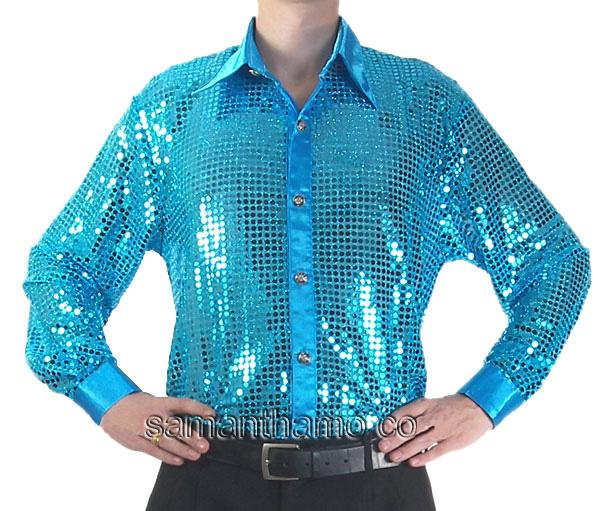 Turquoise Men's Cabaret Entertainers Sequin Dance Shirt - $69.99 ...