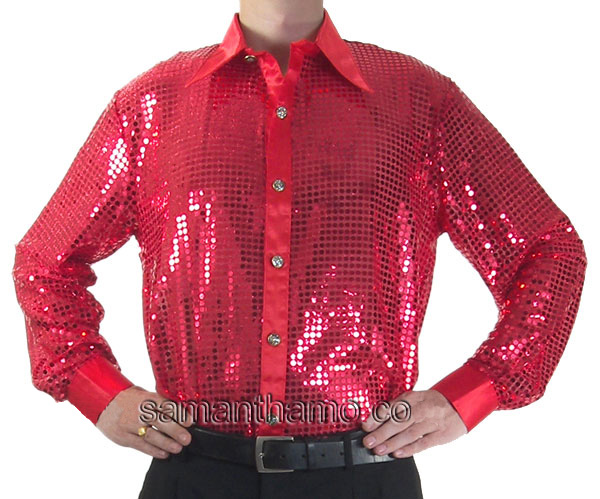 Red Men S Cabaret Stage Entertainers Sequin Dance Shirt
