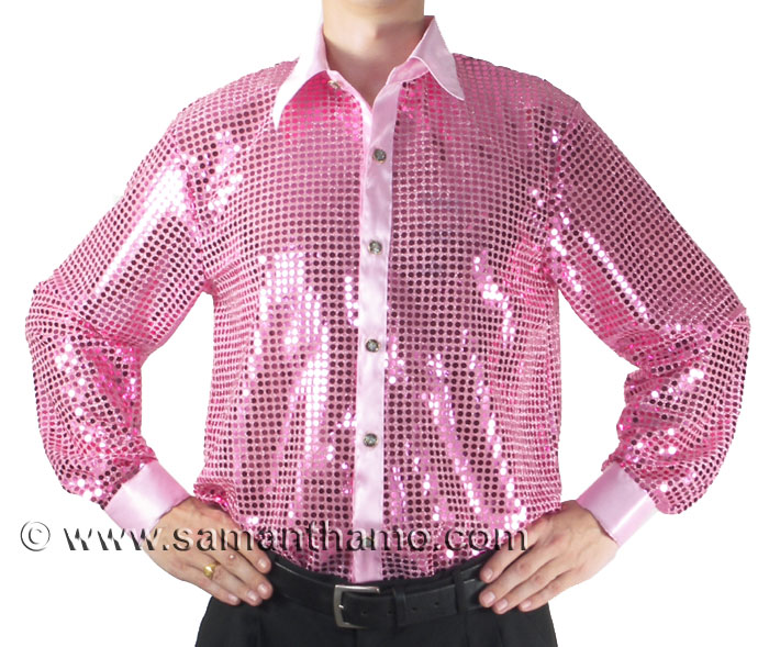 Pink Men's Cabaret, Stage, Entertainers Sequin Dance Shirt ...