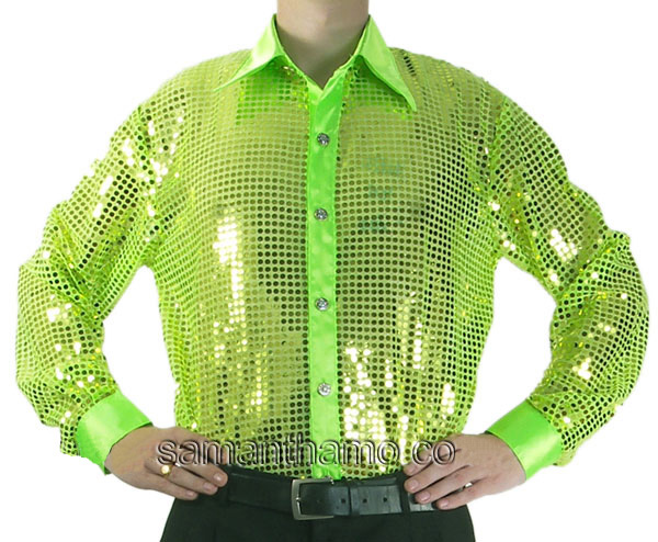 Lime men 39 s cabaret stage entertainers sequin dance shirt for Neon green shirts for men