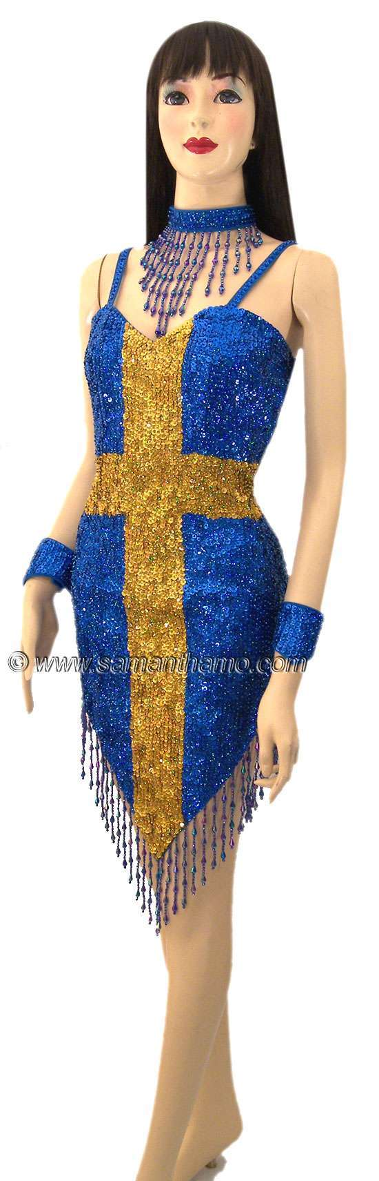 Sdw428 tailor made sequin sweden flag dance dress 169 for Tailor made shirts online