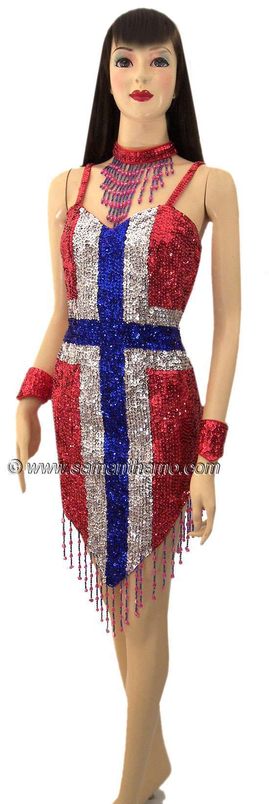 Sdw438 tailor made sequin norway flag dance dress 179 for Tailor made dress shirts
