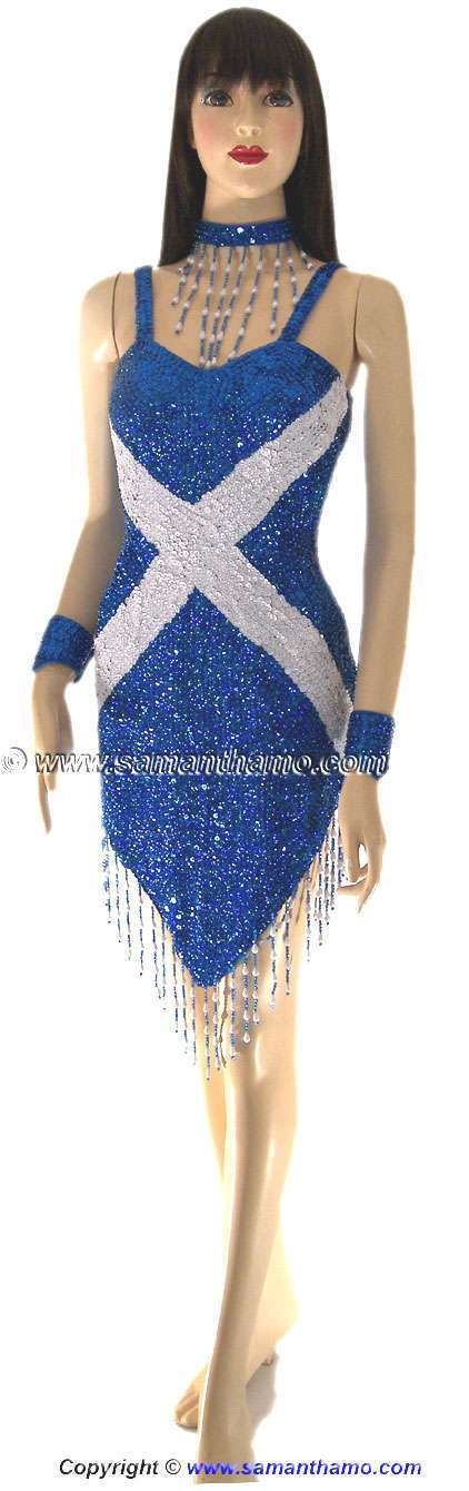 sdw402 tailor made sequin scottish flag dance dress 169