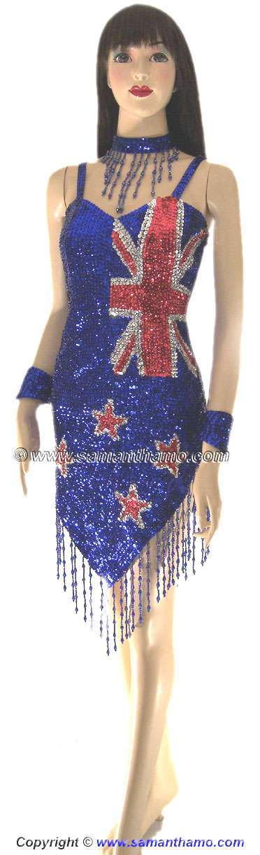 Sdw443 tailor made sequin new zealand flag dance dress for Tailor made dress shirts