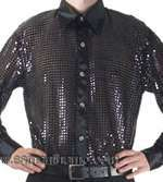 Black Men's Cabaret, Stage, Entertainers Sequin Dance Shirt - Click Image to Close