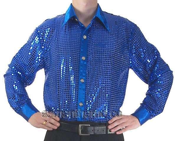 Cs061 Men S Blue Cabaret Stage Entertainers Sequin Dance