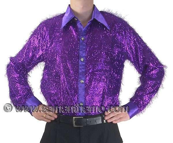 mens cabaret stage entertainers purple tinsel dance shirt