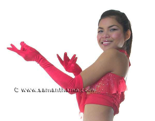 SCG1 RED Satin Elbow Length Cabaret Gloves FREE SHIPPING! - Click Image to Close