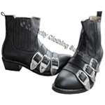 100% REAL LEATHER MJ Bad Tour Buckle Boots - Click Image to Close