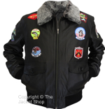 Top Gun G 1 Military Flight Aviator Leather Jacket With Badges - Click Image to Close