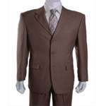 Men's Taupe 3 Button Pinstriped Suit - Tailor Made 7 - 10 Days! - Click Image to Close