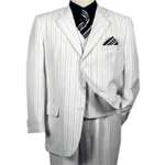 Men's White 3 Piece Pinstriped Suit - Tailor Made 7 - 10 Days! - Click Image to Close