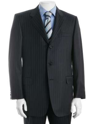 Men's Black 3 Button Pinstriped Suit - Tailor Made In 7 Days ...