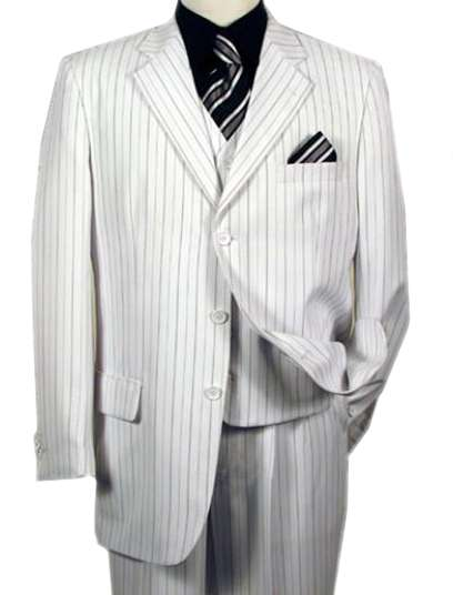 Men's White 3 Piece Pinstriped Suit - Tailor Made In 7 Days! Buy ...