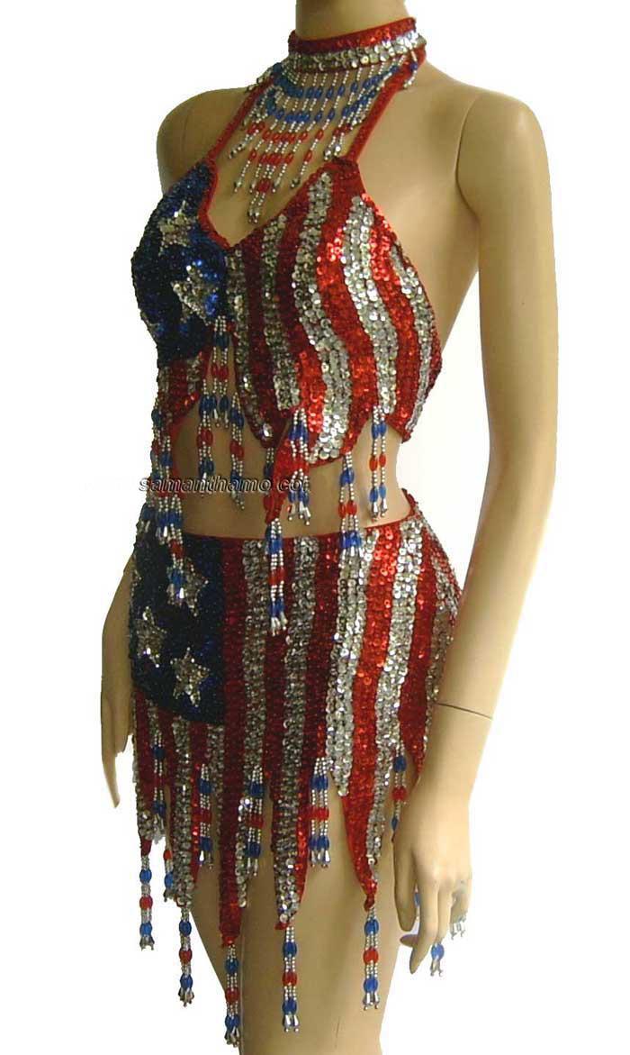 SDW407 USA flag sequin dress